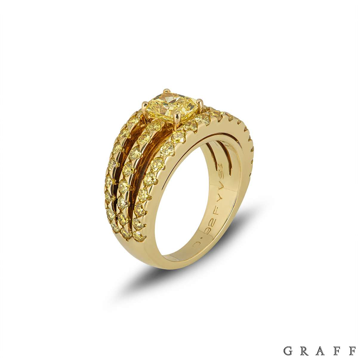 Graff Yellow Gold Fancy Vivid Yellow Diamond Dress Ring 0.92ct